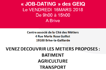Job dating des GEIQ le vendredi 16 mars à Brive