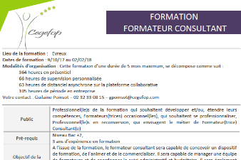 Formation Formateur Consultant - CEGEFOP