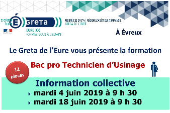 BAC PROFESSIONNEL TECHNICIEN D'USINAGE GRETA DE L'EURE