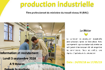 Formation de Technicien de Production industrielle