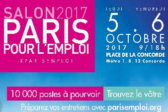 FORUM PARIS POUR L'EMPLOI DU 5 et 6 OCTOBRE PROCHAIN