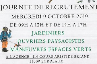 Journée de Recrutement Espaces Verts - 9 oct. - Bordeaux