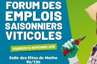 Forum des emplois saisonniers viticoles - 22 nov. - Matha (17)