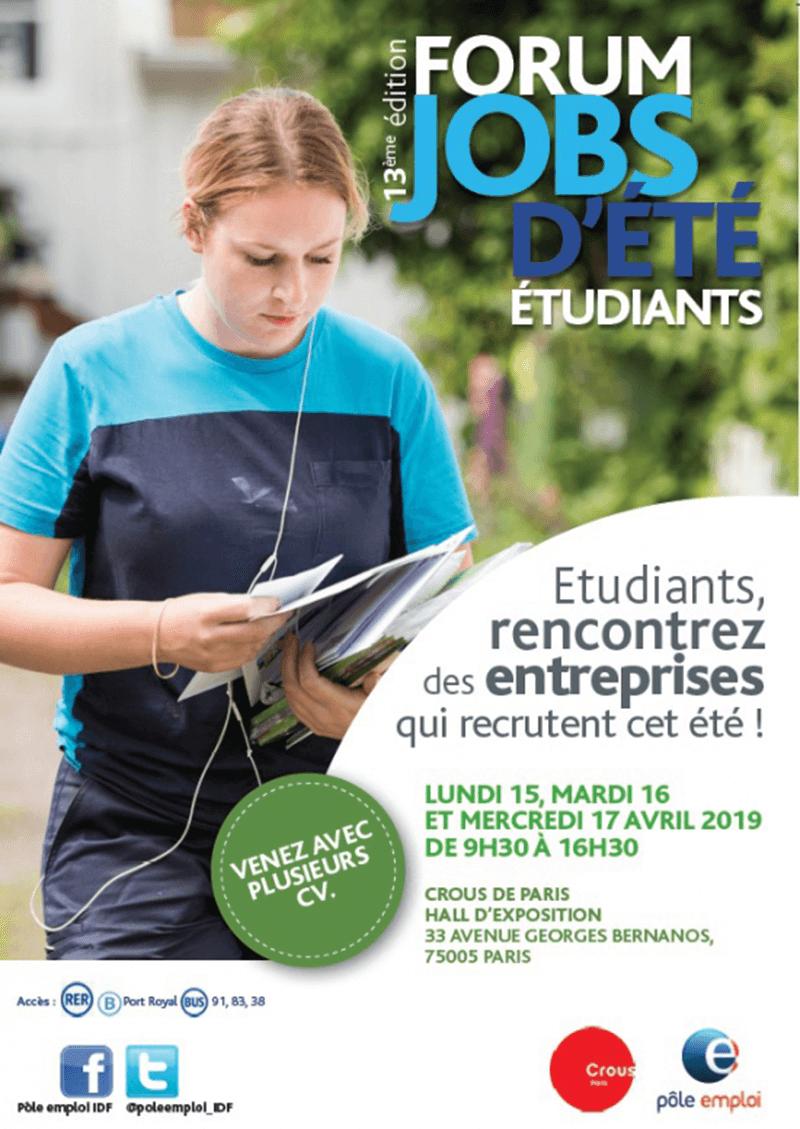 Forum jobs d'été étudiants Pôle Emploi au Crous Paris 15 au 17 avril 2019