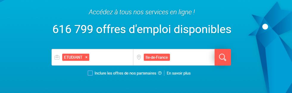 Page accueil Pôle Emploi recherche jobs d'été étudiants Paris