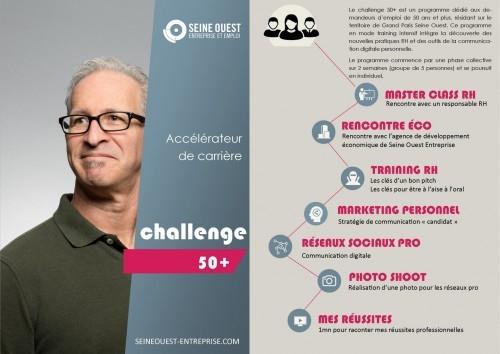 Challenge 50+ est un programme dédié aux demandeurs d'emploi seniors (de 50 ans et plus), résidant sur le territoire de Grand Paris Seine Ouest.