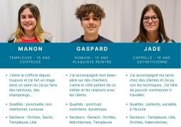 Aidez Jade, Manon et Gaspard à trouver une entreprise