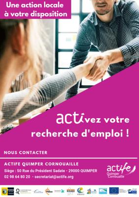La première image est une affiche de campagne ACTIFE, on y voit deux personnes se serrer la main avec les mentions en haut à gauche « Une action locale à votre disposition » et plus au centre « Activez votre recherche d'emploi ! »