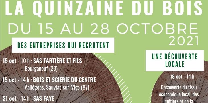 Affiche de la quinzaine du bois du 15 au 28 octobre 2021