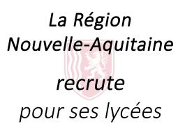 Postes dans les lycées de la Nouvelle-Aquitaine
