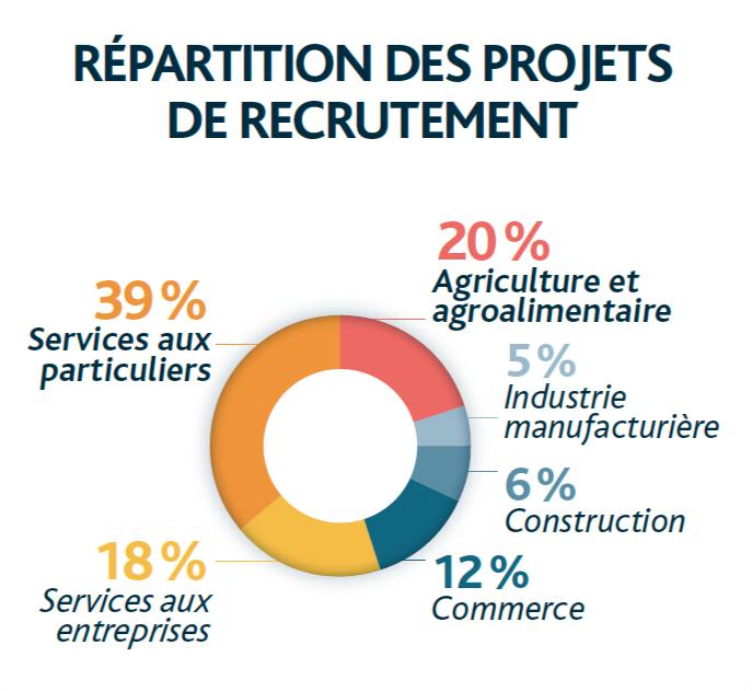 Répartition des projets de recrutement en Nouvelle-Aquitaine - Source PE - Enquête BMO 2021