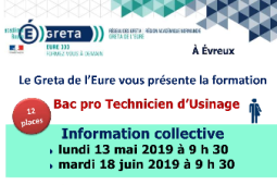 GRETA : INFORMATION COLLECTIVE BAC PRO Technicien d'usinage