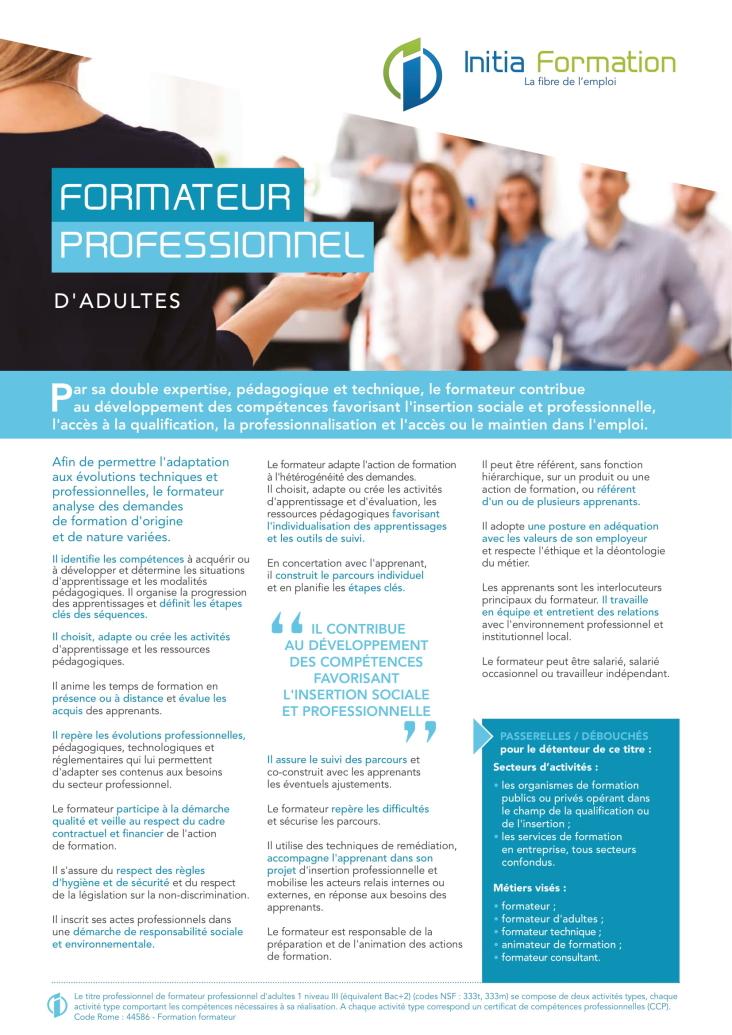 FORMATEUR PROFESSIONNEL D'ADULTES
