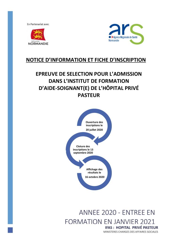 Inscription sélection formation AS IFAS PASTEUR