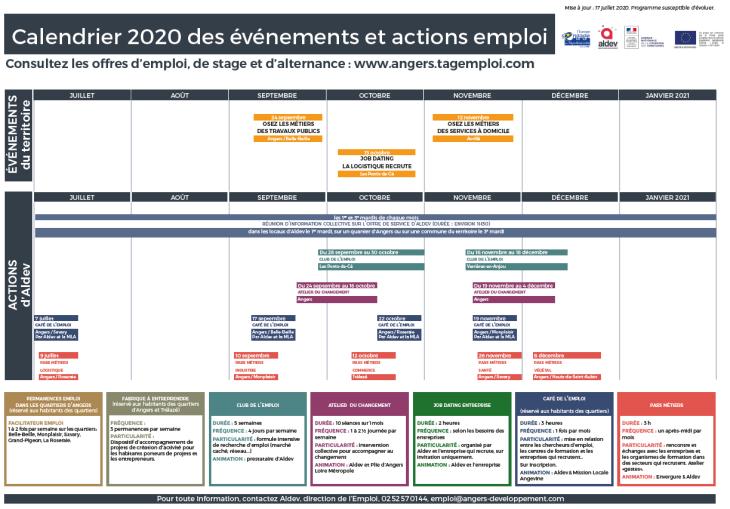 Calendrier des événements et actions emploi