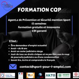 Formation CQP Agent de Prévention et de Sécurité Mention Sport - Pass'Sport pour l'Emploi