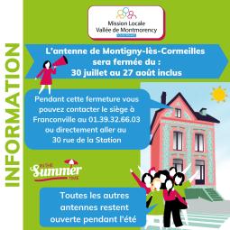 FERMETURE DE L'ANTENNE DE MONTIGNY-LÈS-CORMEILLES DU 30/07 AU 27/08/21 INCLUS