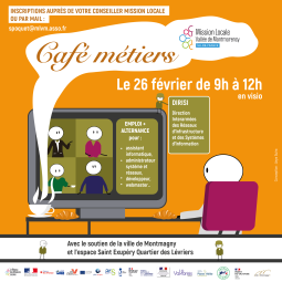 Café métiers en visio le 26/02 de 9H à 12H avec la Mission Locale Vallée de Montmorency