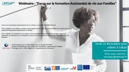 """Webinaire: """"Focus sur la formation Assistant(e) de vie aux Familles"""" UNISAP95"""