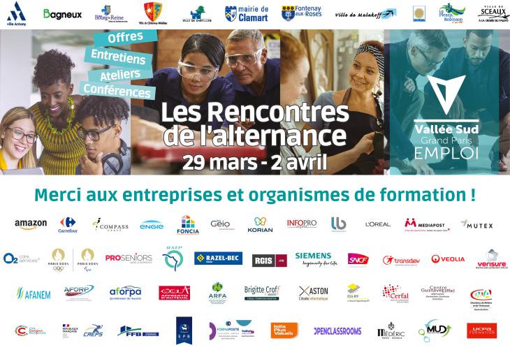 Logo des entreprises et organismes de formation partenaires des Rencontres de l'alternance 2021
